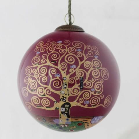 Gustav Klimt 'Tree of Life (Burgundy)' Hand Painted Glass Ornament