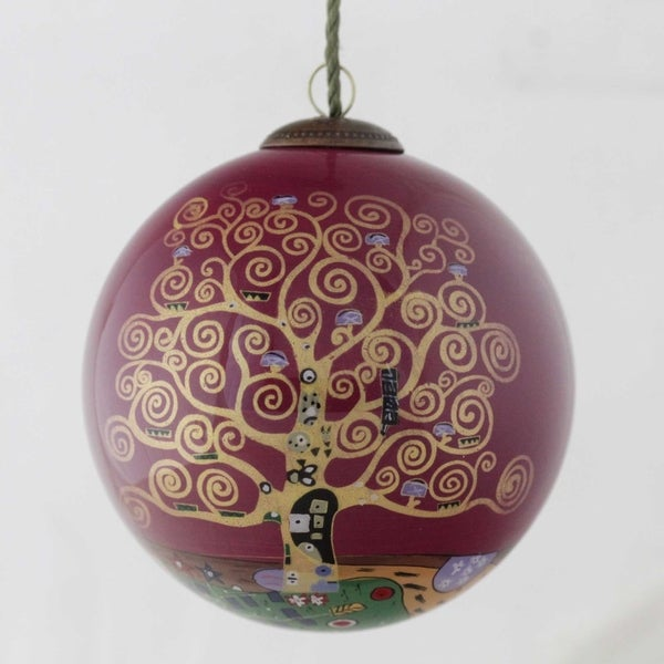 Gustav Klimt 'Tree of Life (Burgundy)' Hand Painted Glass Ornament. Opens flyout.