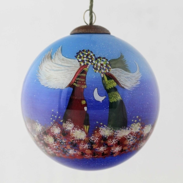 Justyna Kopania 'Angels' Hand Painted Glass Ornament. Opens flyout.