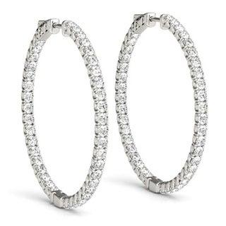 """Bliss 14k White Gold 1 3/4 ct TDW Diamond Inside Outside Hoops Womens Earrings 1 1/4"""" Tall"""