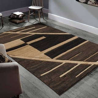 Allstar Rugs Hand-Carved Chocolate and Espresso Rectangular Accent Area Rug with Mocha Abstract Geometric Design