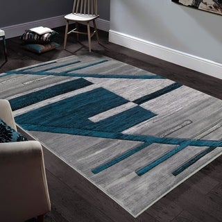 """Allstar Rugs Hand-Carved Grey and White Rectangular Accent Area Rug with Turquoise Abstract Geometric Design - 9' 8"""" x 7' 5"""""""