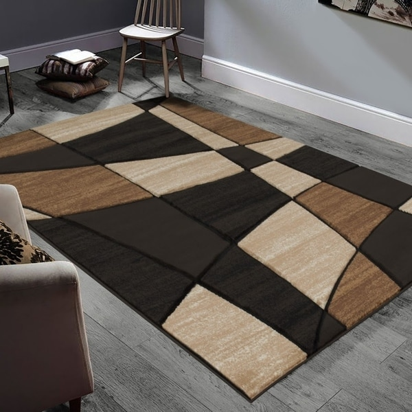 "Allstar Rugs Hand-Carved Chocolate and Mocha Rectangular Accent Area Rug with Beige Abstract Geometric Design - 6' 11"" x 4' 11"""