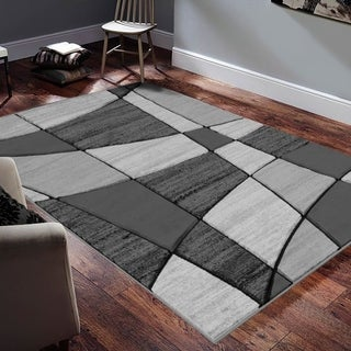 """Allstar Rugs Hand-Carved Grey and White Rectangular Accent Area Rug with Charcoal Grey Abstract Geometric Design - 9' 8"""" x 7' 5"""""""