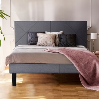 Sleeplanner Linen Fabric Tufted Grey Upholstered Platform Bed
