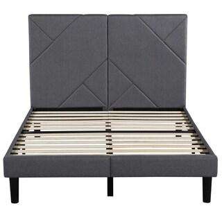 Sleeplanner Linen Fabric Tufted Grey Upholstered Platform Bed