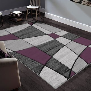 "Allstar Rugs Hand-Carved Grey and White Rectangular Accent Area Rug with Purple Abstract Geometric Design - 6' 11"" x 4' 11"""
