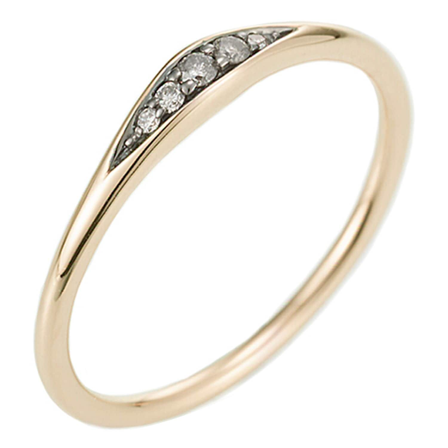 "Dia 0.10cts. 14k Rose or Yellow Gold /""V/"" Shape Stackable Ring with Diamond"