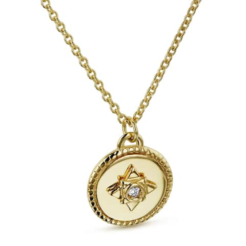 Annello by Kobelli 14k Yellow Gold 1.3pt Diamond Small Medallion Star Adjustable Necklace