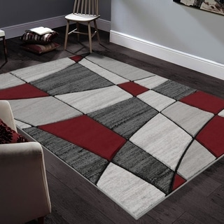 """Allstar Rugs Hand-Carved Grey and White Rectangular Accent Area Rug with Red Abstract Geometric Design - 9' 8"""" x 7' 5"""""""