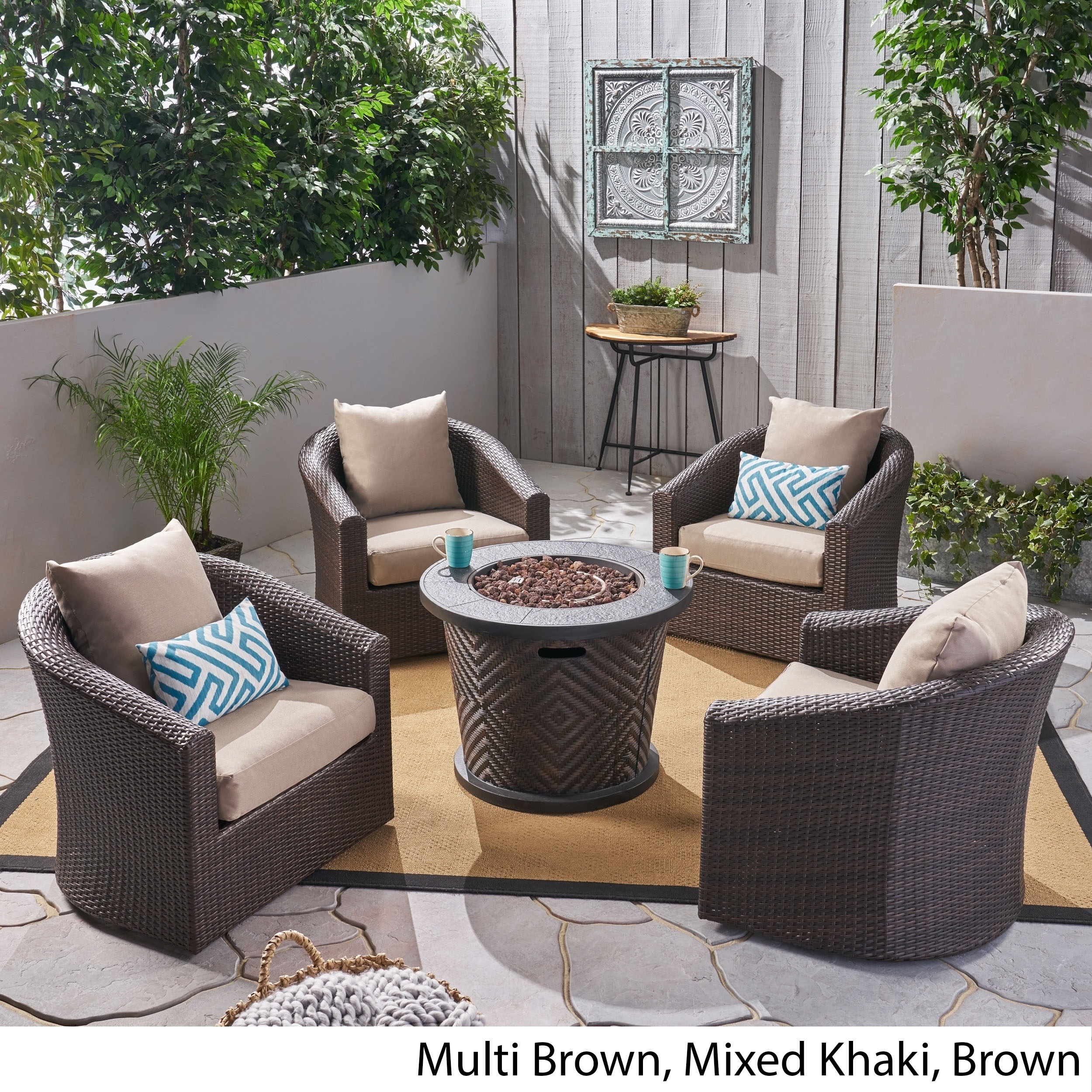 Brilliant Pollock Outdoor 4 Piece Wicker Swivel Chair Set With Fire Pit By Christopher Knight Home Evergreenethics Interior Chair Design Evergreenethicsorg