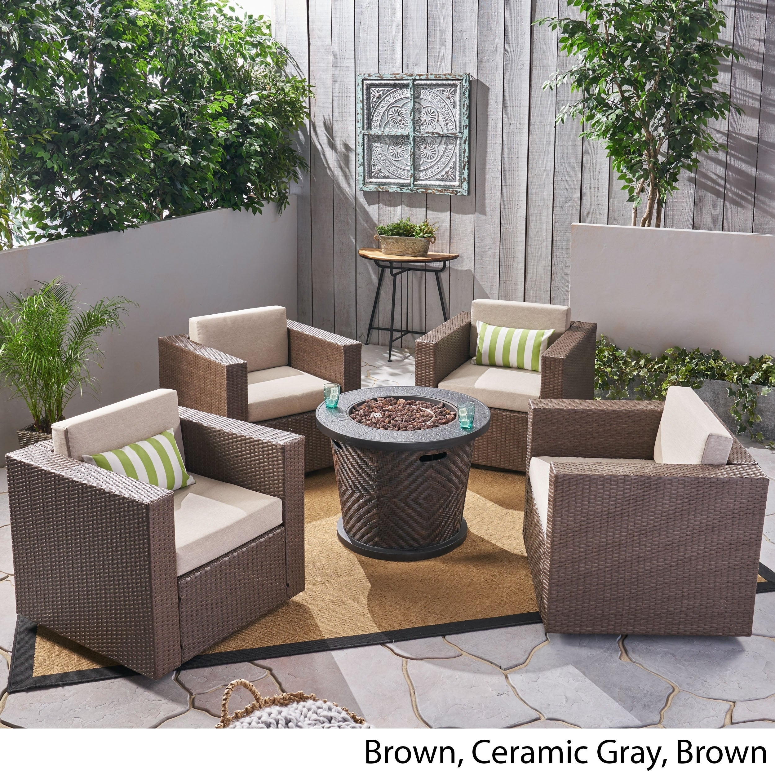 Wondrous Pollock Outdoor 4 Piece Wicker Swivel Chair Set With Fire Pit By Christopher Knight Home Evergreenethics Interior Chair Design Evergreenethicsorg