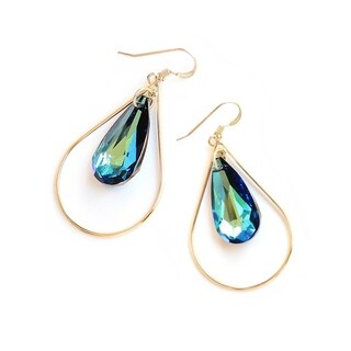 Sonia Hou Selfie Genuine Crystals In 14K Gold Tear Drop Dangle Earrings