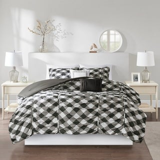 Intelligent Design Charlotte Black/ Grey Ruched Gingham Print Comforter Set