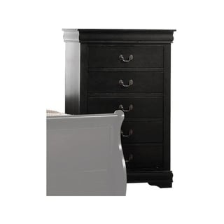 Traditional Style Wooden Chest with Five Drawers, Black