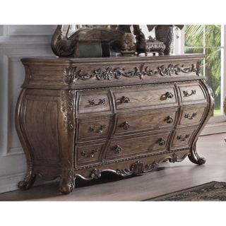 Eleven Drawer Dresser With Antique Handles & Scrolled Legs, Vintage Oak Finish