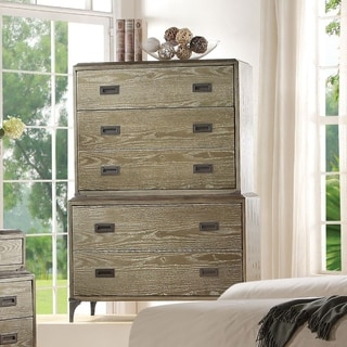 Transitional Style Wood and Metal Chest with 5 Drawers, Oak Brown