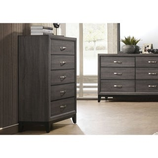 Five Drawer Chest With Tapered Feet, Weathered Gray