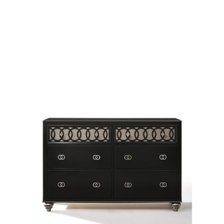 Transitional Style Wood and Metal Dresser with 6 Drawers, Black