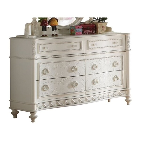 Shop Transitional Style Wood Dresser With 6 Drawers, White