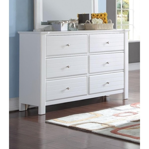 Contemporary Style Wood And Metal Dresser With 6 Drawers White