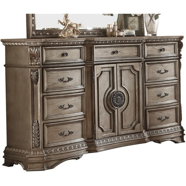 Shop Marble Top Dresser With Nine Drawers And Two Door Shelf