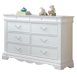 Traditional Style Wood Dresser with 8 Drawers, Ivory