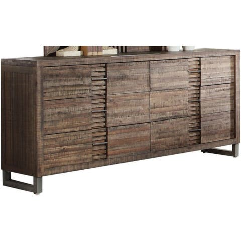 Six Drawers Wooden Dresser with Metal Sled Legs, Reclaimed Oak Brown