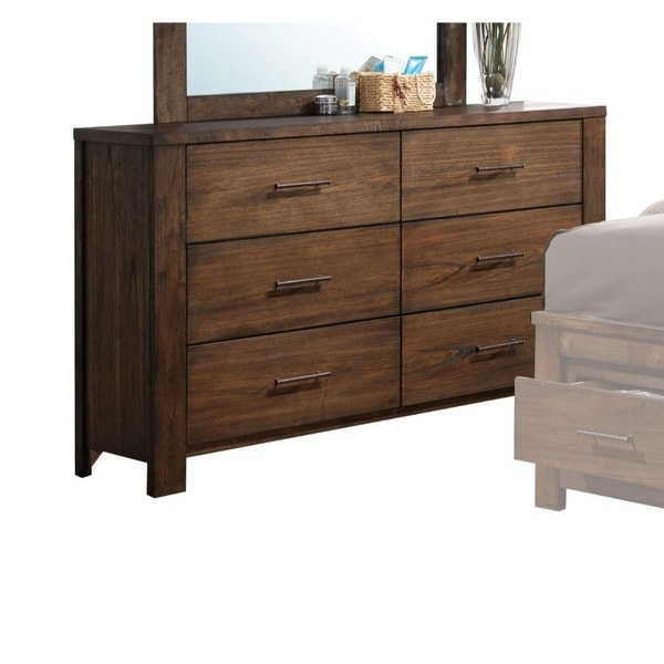 Spacious Wooden Dresser with Six Drawers, Oak Brown