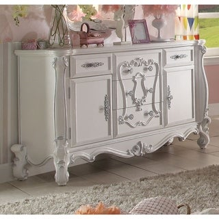 Traditional Style Wooden Dresser with 5 Drawers and 2 Cabinets, White
