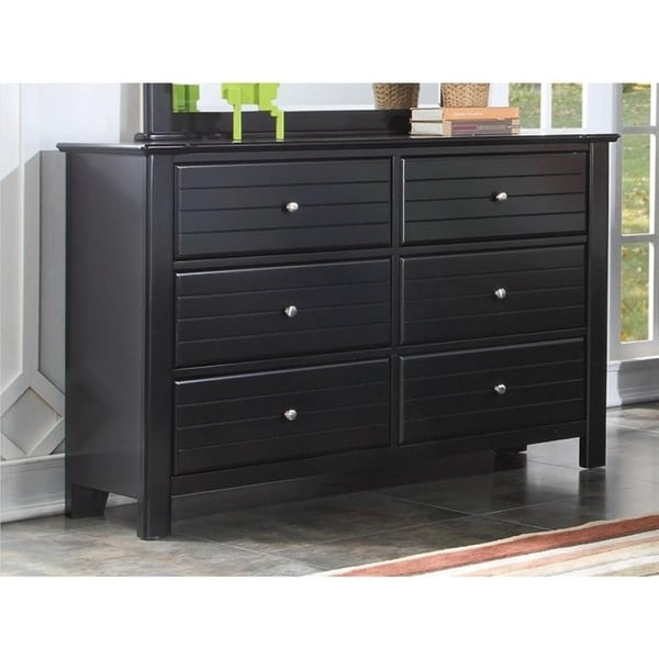 Contemporary Style Wood and Metal Dresser with 6 Drawers, Black