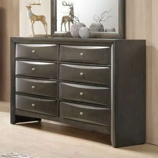 Spacious Wooden Dresser with Beveled Drawer Fronts, Gray