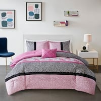 Mi Zone Riley Pink Printed Comforter Set