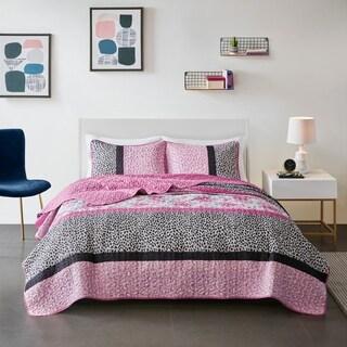 Mi Zone Riley Pink Printed Coverlet Set