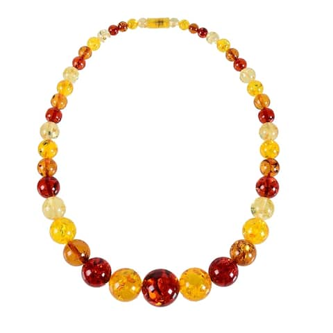 Multi Color Graduated Free Form Faux Amber Necklace-23""