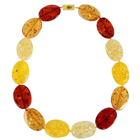 Multi Color Faux Amber Disc-Shaped Statement Necklace-23""