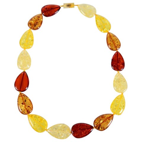 "Multi Color Faux Amber Pear Shape Necklace-23"""