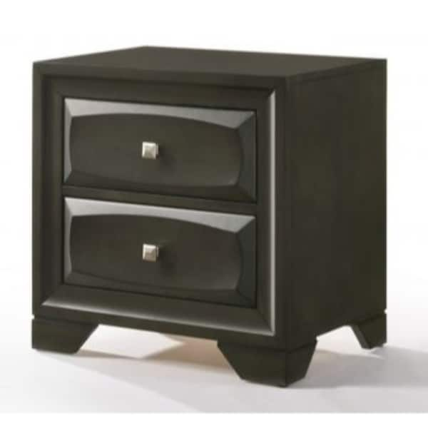 Two Drawer Nightstand With Brushed Nickel Accent And Chamfered Legs, Antique Gray