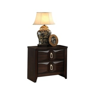Transitional Style Wood Nightstand with 2 Drawers, Espresso Brown