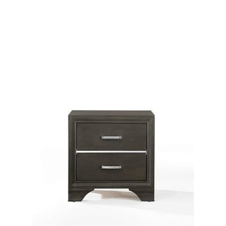 Wooden Two Drawer Nightstand With Bracket Legs, Gray