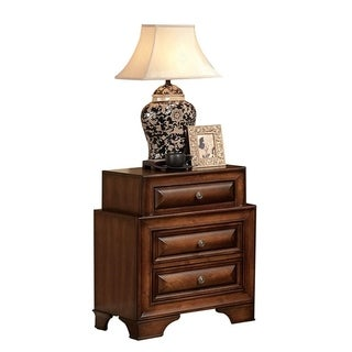 Wooden Nightstand with Three Drawers, Cherry Brown