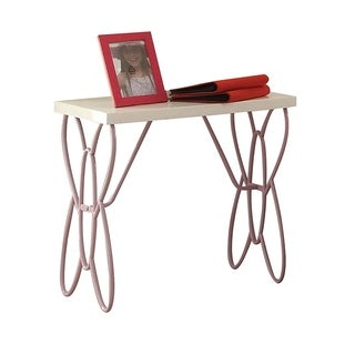 Wood And Metal One Drawer Butterfly Design Nightstand, White & Light Purple