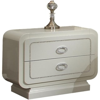 Wooden Nightstand with Two Drawers, Ivory