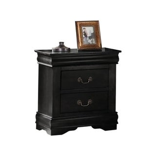 Wooden Nightstand with Two Drawers, Black