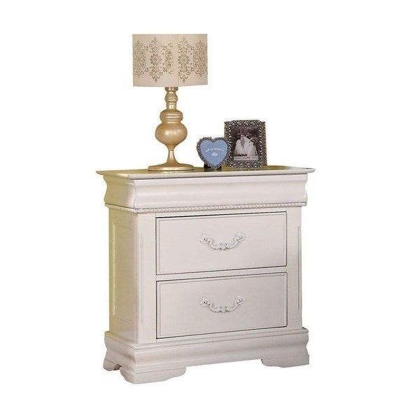 Wooden Three Drawer Nightstand With One Hidden Top Drawer, White