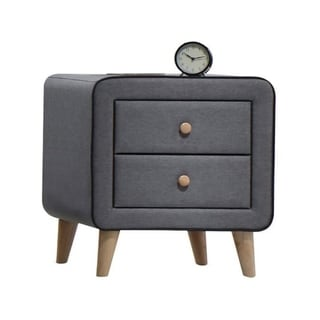 Transitional Style Wood and Fabric Upholstery Nightstand with 2 Drawers, Gray