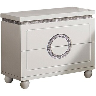 Wooden Nightstand with Two Drawers, Glossy White