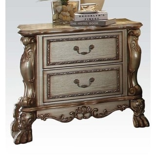 Wooden Nightstand with Two Drawers, Gold & Bone White