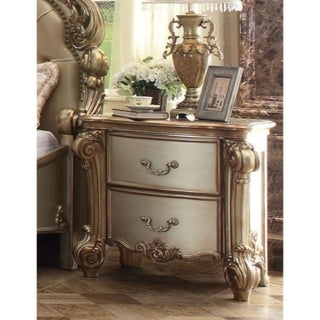 Wooden Nightstand with Two Drawers, Gold And Bone White