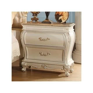 Two Drawers Wooden Nightstand with Granite Top, Pearl White